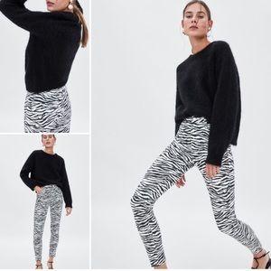 Zara Zébra Print High Rise Black White Skinny Jean